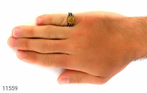 انگشتر عقیق زرد خوش رنگ مردانه - عکس 7