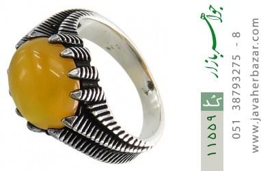 انگشتر عقیق زرد خوش رنگ مردانه - کد 11559