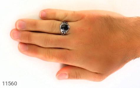 انگشتر عقیق سیاه طرح ذوالفقار مردانه - عکس 7