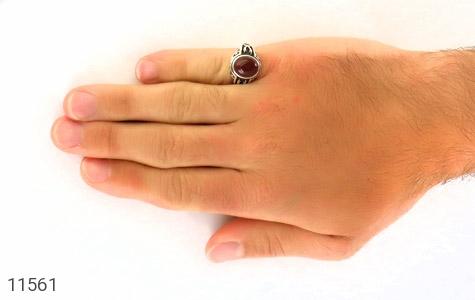انگشتر عقیق قرمز طرح ذوالفقار مردانه - عکس 7
