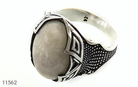انگشتر عقیق سفید درشت مردانه - عکس 1