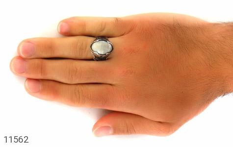انگشتر عقیق سفید درشت مردانه - عکس 7
