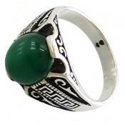 انگشتر عقیق سبز جذاب طرح ورساچه مردانه