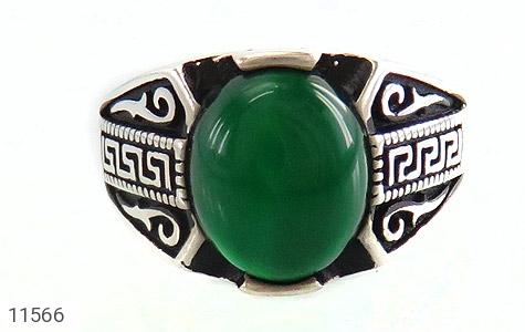 انگشتر عقیق سبز جذاب طرح ورساچه مردانه - عکس 3