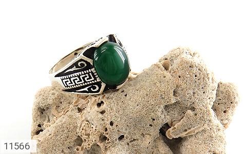 انگشتر عقیق سبز جذاب طرح ورساچه مردانه - عکس 5