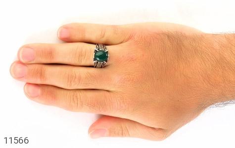 انگشتر عقیق سبز جذاب طرح ورساچه مردانه - عکس 7