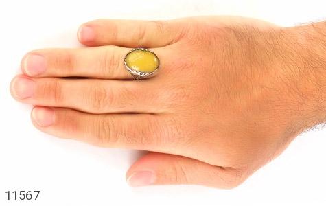 انگشتر عقیق زرد درشت مردانه - عکس 7