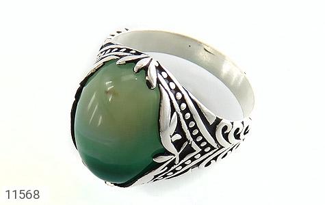 انگشتر عقیق سبز طرح ابروبادی درشت مردانه - عکس 1