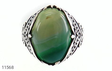 انگشتر عقیق سبز طرح ابروبادی درشت مردانه - تصویر 2