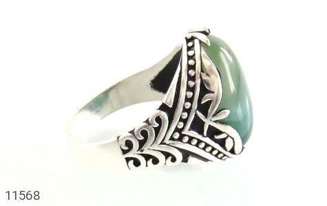 انگشتر عقیق سبز طرح ابروبادی درشت مردانه - عکس 3