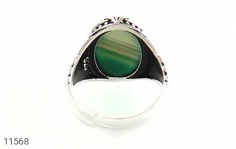 انگشتر عقیق سبز طرح ابروبادی درشت مردانه - تصویر 4