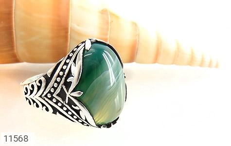 انگشتر عقیق سبز طرح ابروبادی درشت مردانه - عکس 5