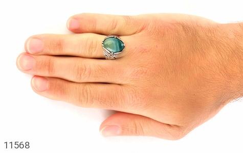 انگشتر عقیق سبز طرح ابروبادی درشت مردانه - عکس 7