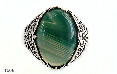 انگشتر عقیق سبز طرح ابروبادی درشت مردانه - تصویر 8