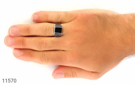 انگشتر عقیق سیاه جذاب مردانه - عکس 7