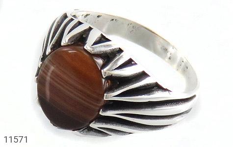 انگشتر عقیق طرح ابروبادی مردانه - عکس 1