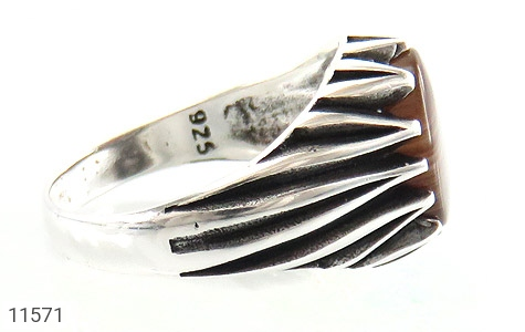 انگشتر عقیق طرح ابروبادی مردانه - عکس 3