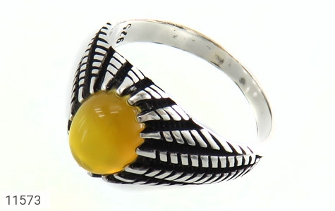 انگشتر عقیق زرد رکاب سنتی مردانه - عکس 1