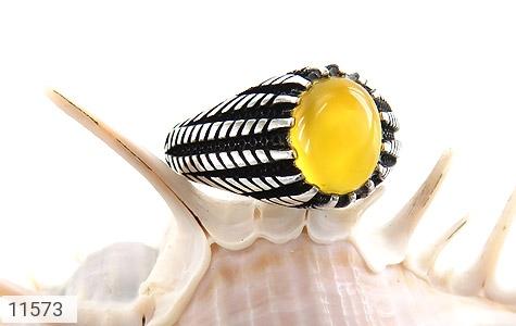 انگشتر عقیق زرد رکاب سنتی مردانه - عکس 5