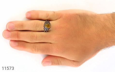 انگشتر عقیق زرد رکاب سنتی مردانه - عکس 7