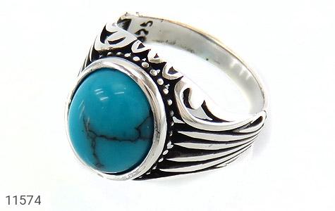 انگشتر فیروزه تبتی خوش رنگ و جذاب مردانه - عکس 1