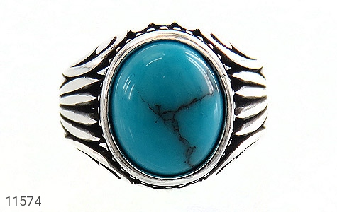 انگشتر فیروزه تبتی خوش رنگ و جذاب مردانه - تصویر 2