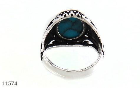 انگشتر فیروزه تبتی خوش رنگ و جذاب مردانه - تصویر 4