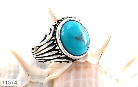 انگشتر فیروزه تبتی خوش رنگ و جذاب مردانه - عکس 5