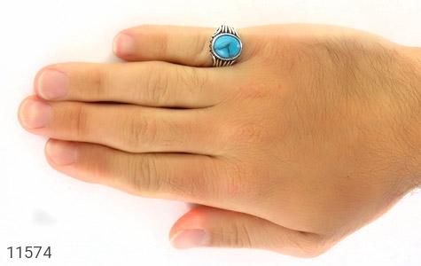 انگشتر فیروزه تبتی خوش رنگ و جذاب مردانه - عکس 7