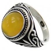 انگشتر عقیق زرد طرح اسلیمی مردانه