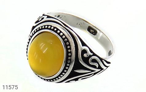 انگشتر عقیق زرد طرح اسلیمی مردانه - عکس 1