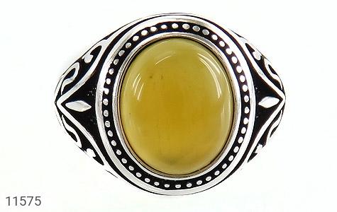 انگشتر عقیق زرد طرح اسلیمی مردانه - تصویر 2