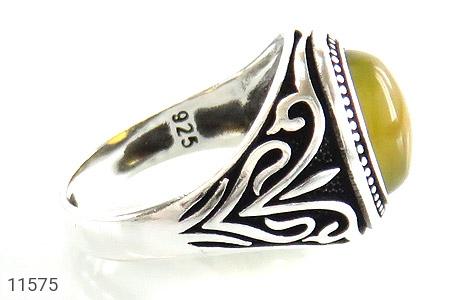 انگشتر عقیق زرد طرح اسلیمی مردانه - عکس 3