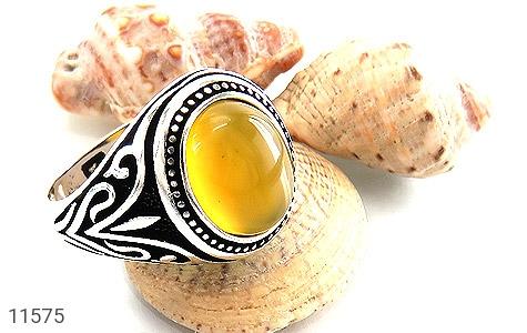 انگشتر عقیق زرد طرح اسلیمی مردانه - عکس 5