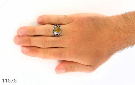 انگشتر عقیق زرد طرح اسلیمی مردانه - عکس 7