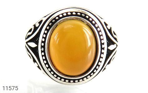 انگشتر عقیق زرد طرح اسلیمی مردانه - تصویر 8