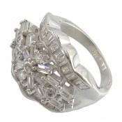 انگشتر نقره سولیتر درشت طرح پریا زنانه