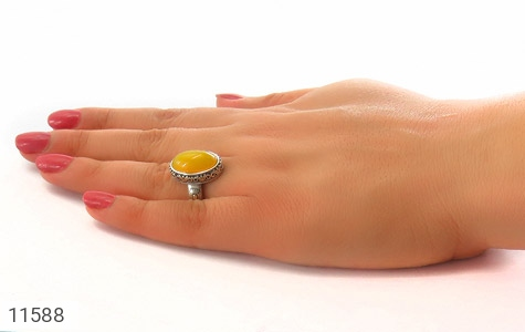 انگشتر عقیق زرد خوش رنگ زنانه - عکس 7