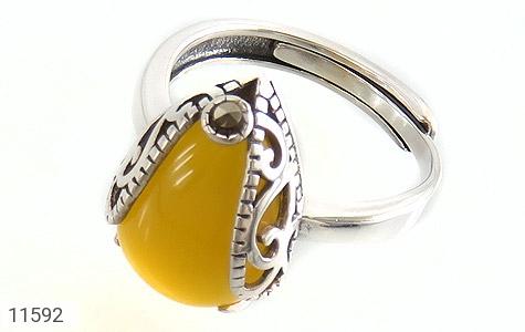 انگشتر مارکازیت و عقیق زرد خوش رنگ طرح آیسان زنانه - عکس 1