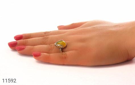 انگشتر مارکازیت و عقیق زرد خوش رنگ طرح آیسان زنانه - عکس 7