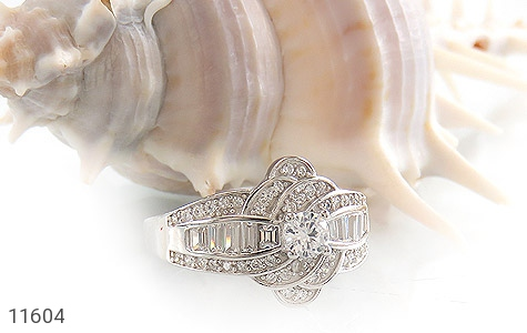 انگشتر نقره سولیتر طرح جواهری زنانه - عکس 5