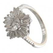 انگشتر نقره سولیتر طرح جواهرنشان زنانه
