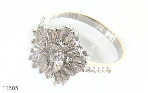 انگشتر نقره سولیتر طرح جواهرنشان زنانه - عکس 1