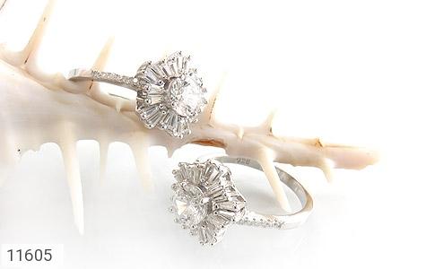انگشتر نقره سولیتر طرح جواهرنشان زنانه - عکس 5