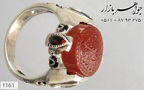 انگشتر عقیق لوکس حکاکی و من یتق الله استاد میر - عکس 3