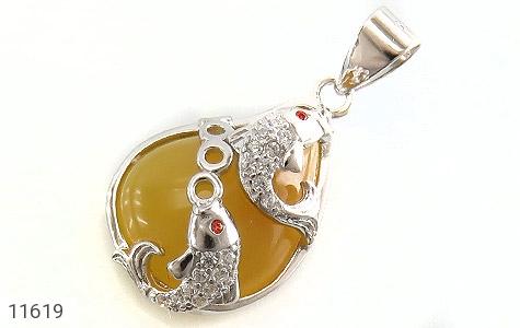مدال عقیق زرد طرح ماهی زنانه - عکس 1