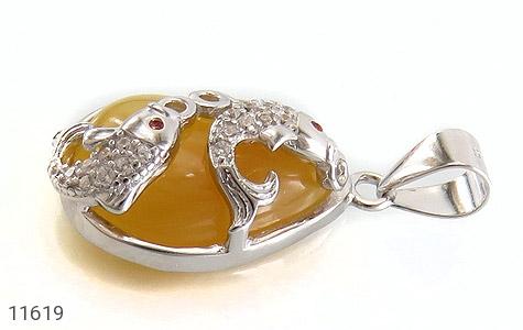 مدال عقیق زرد طرح ماهی زنانه - تصویر 2
