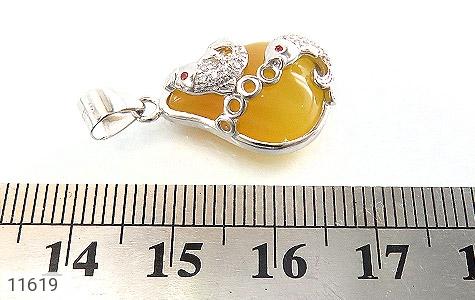 مدال عقیق زرد طرح ماهی زنانه - عکس 5