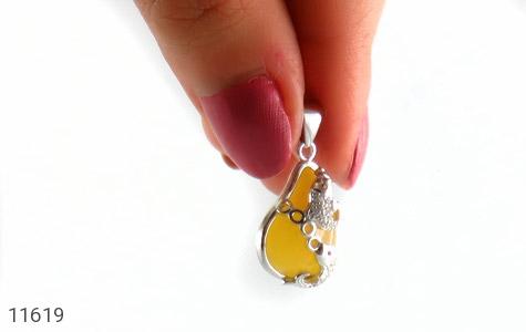 مدال عقیق زرد طرح ماهی زنانه - تصویر 6
