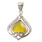 مدال عقیق زرد طرح گوهر زنانه